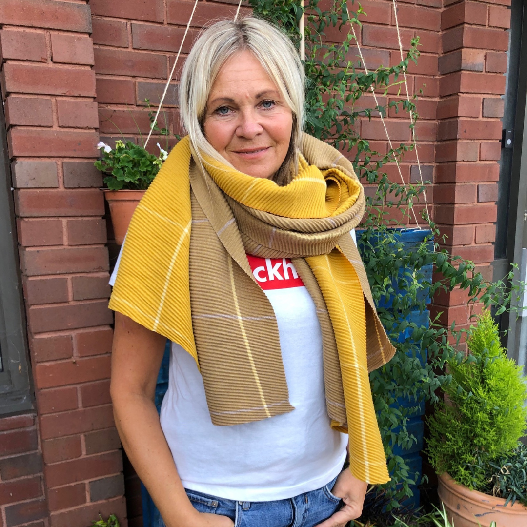 Unmade Copenhagen Banu Recycled Polyester Scarf in Corn Yellow