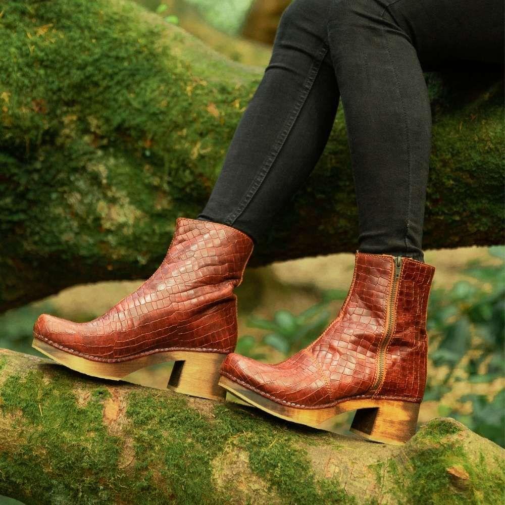 Lotta's Britt Clog Boot in Cognac Croco Print Leather