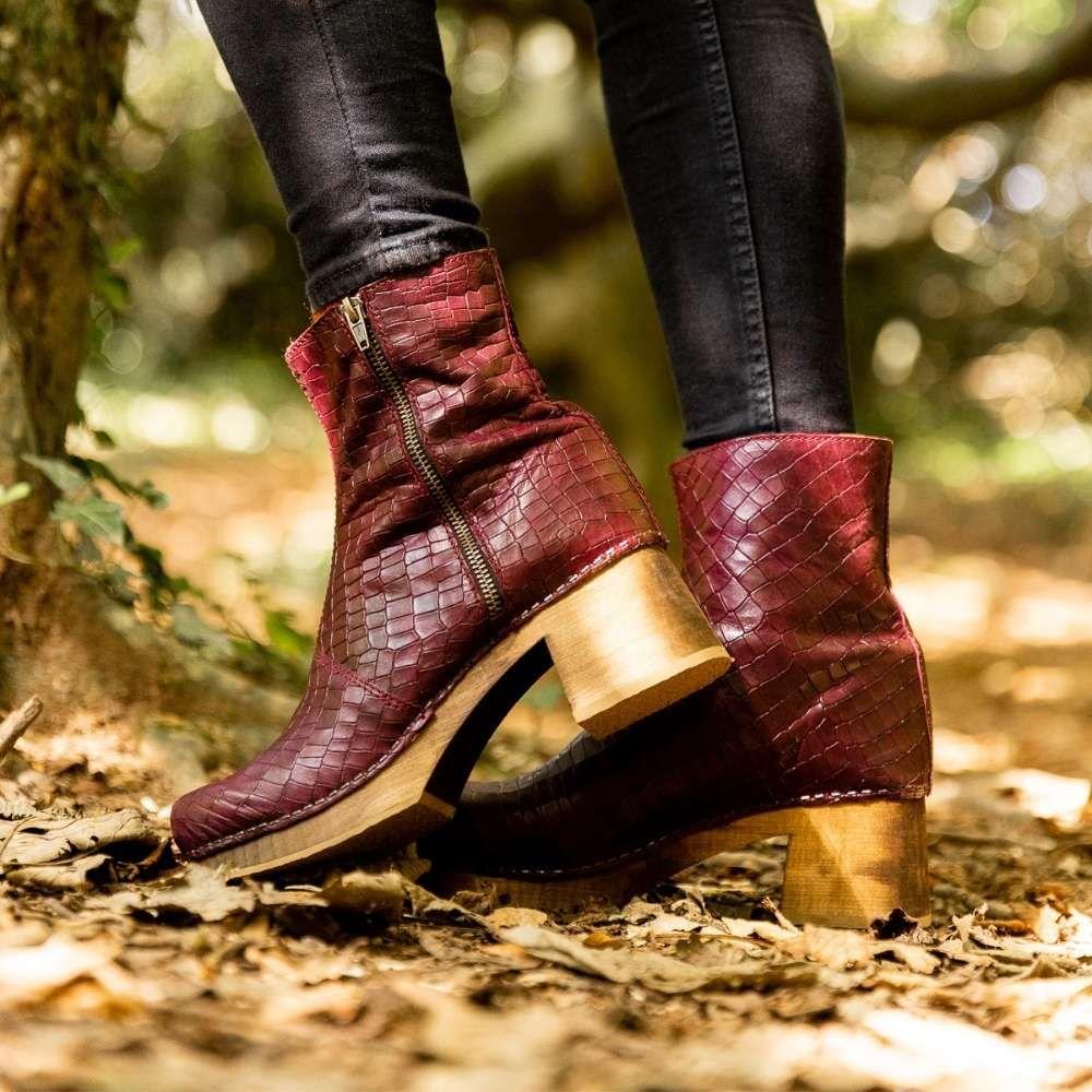 Lotta's Britt Clog Boot in Bordeaux Croco Print Leather