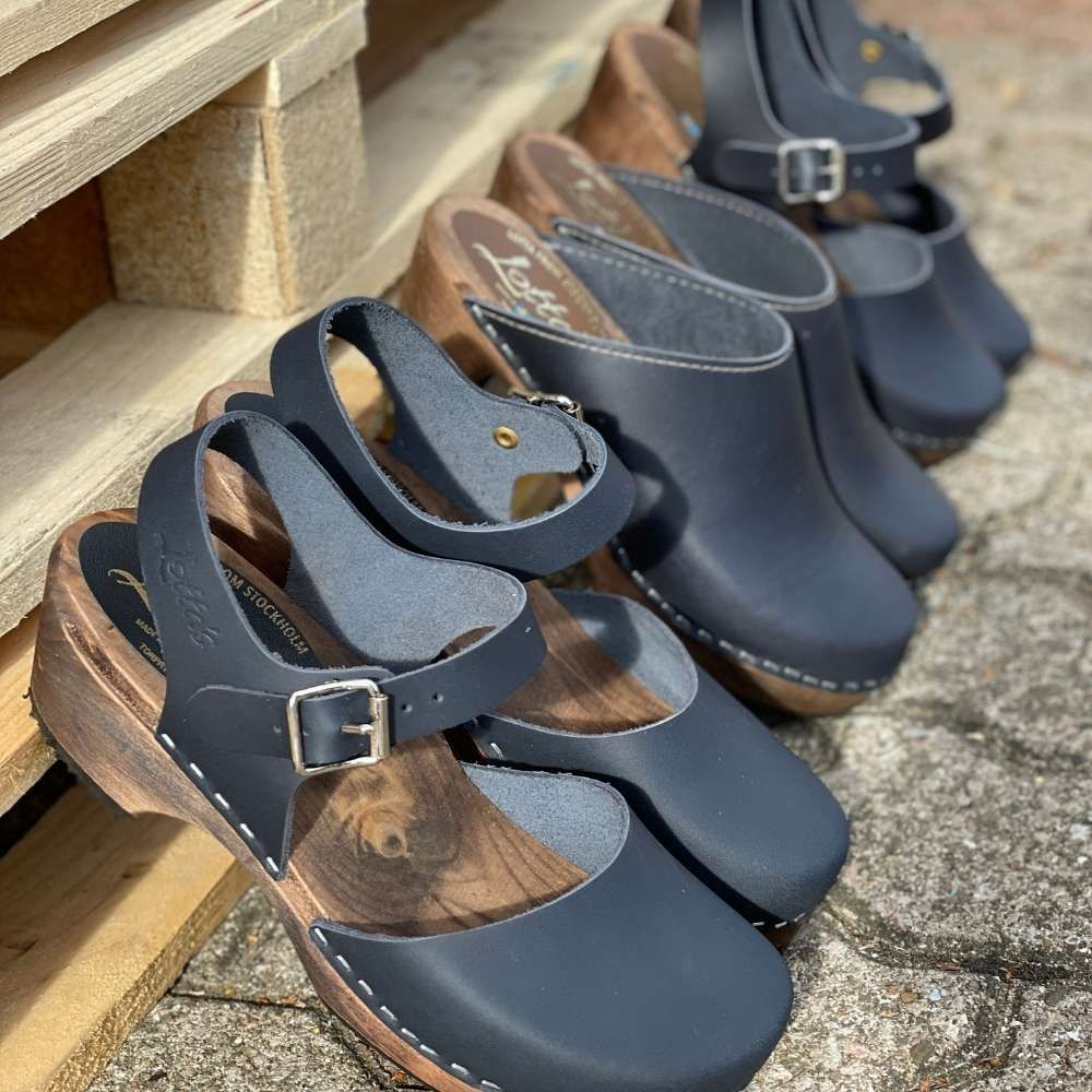 High Heel Classic Clog in Dark Blue with Brown Base