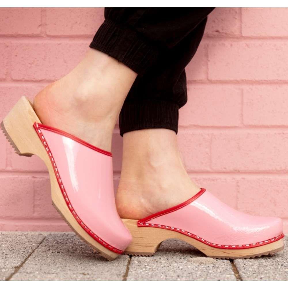 Classic Retro Patent Pink Clogs