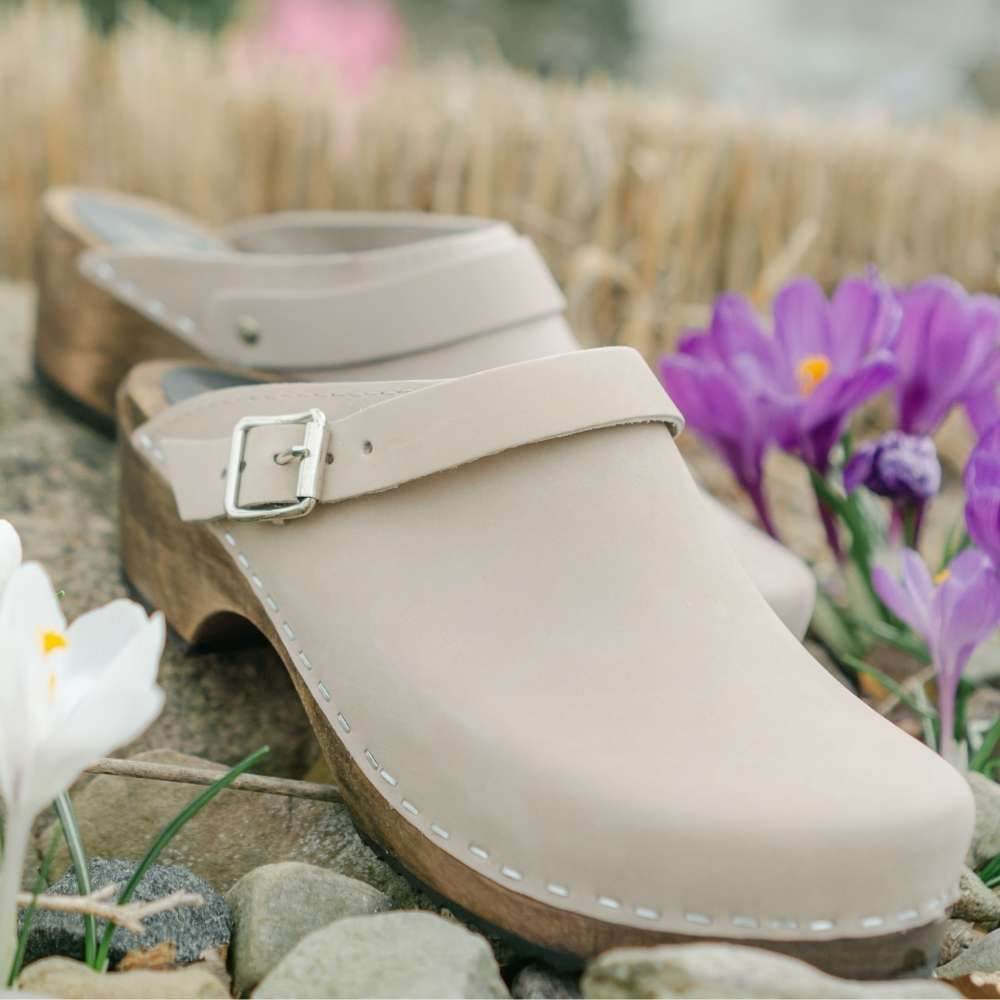 Classic Oatmeal Oiled Nubuck Clogs with Strap on Brown Base