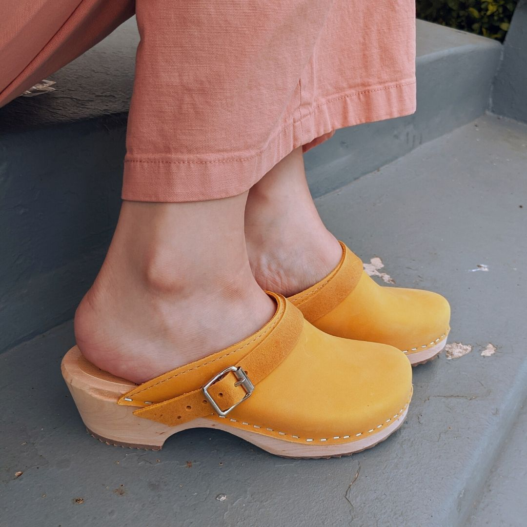 Classic Yellow Oiled Nubuck Clogs with Strap