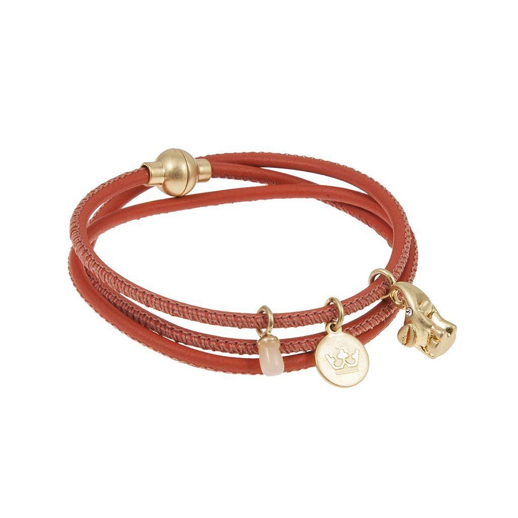 Nappa Snake Bracelet Coral Red Worn Gold