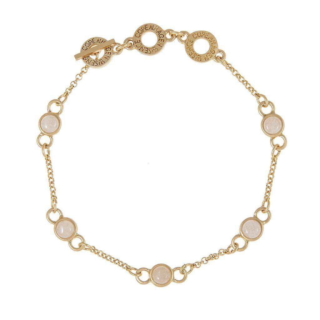 Aloha Bracelet White Jade Worn Gold