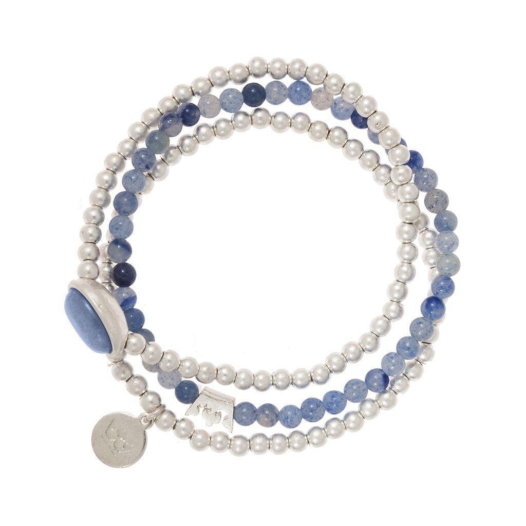 Explorer Bracelet in Blue Aventurine and Worn Silver