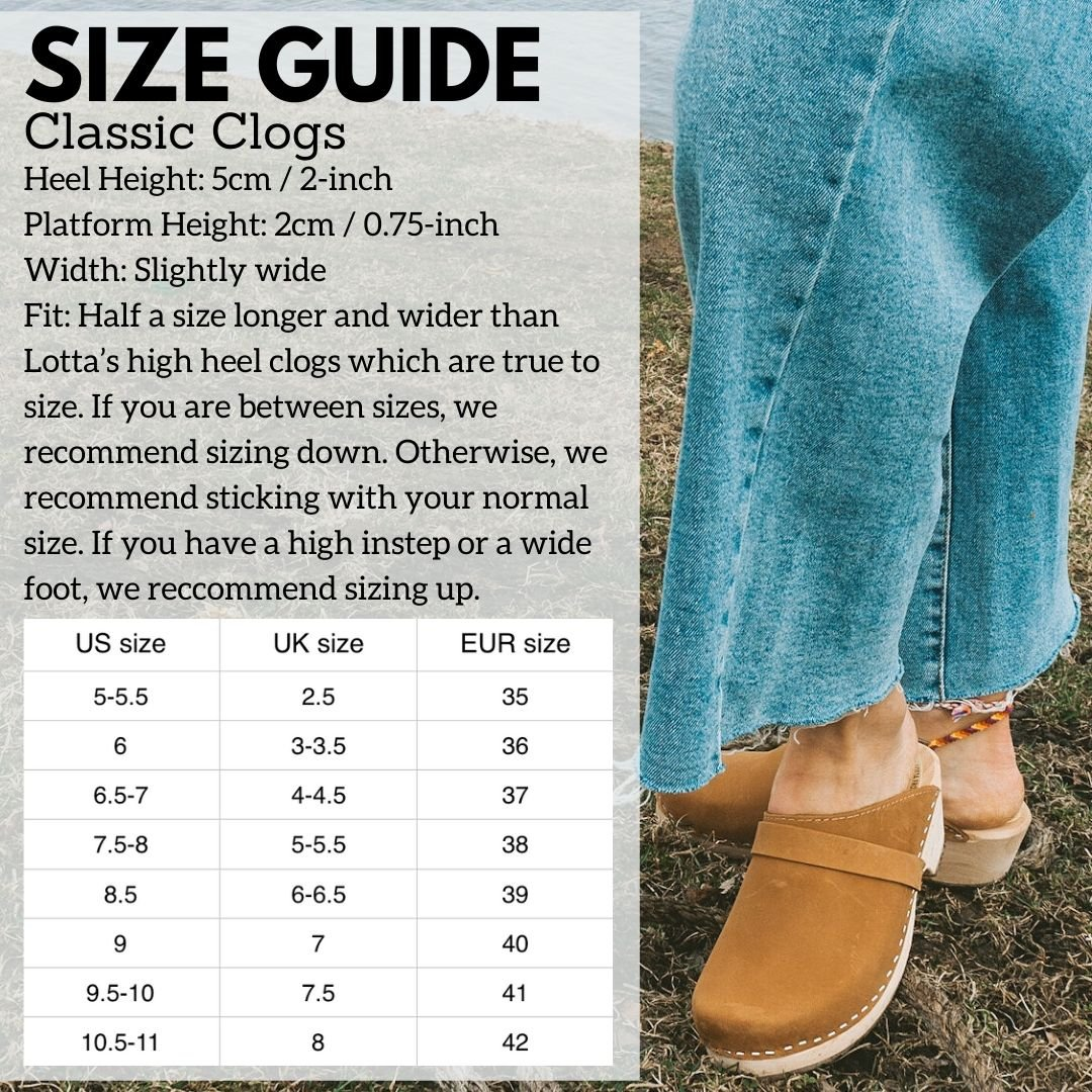 Classic Clog Size Guide