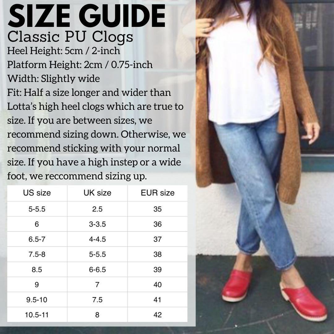 PU Classic Clog Size Guide