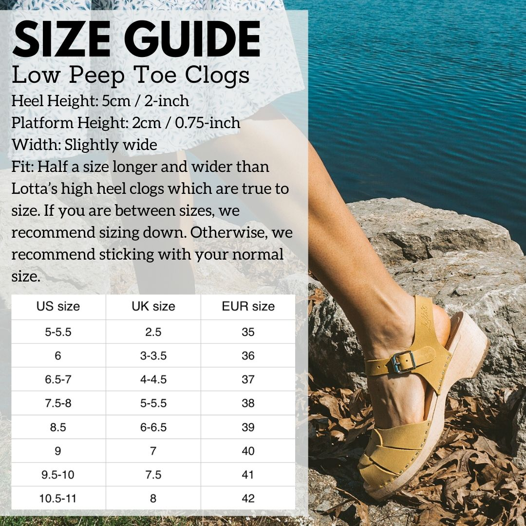 Low Peep Toe Size Guide