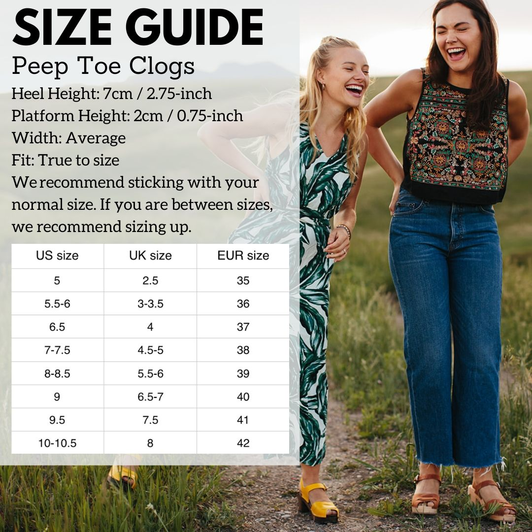 Peep Toe Size Guide